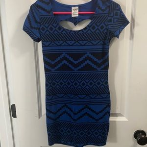 NWOT PINK tribal mini dress with ❤️back cut out S